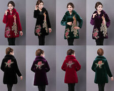Winter Middle-aged and old women's peacock embroidery pleuche Oversize coats