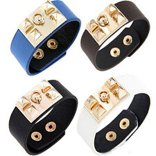 New Vintage Women Punk Stud Pyramid Metal Leather Wristband Bangle Cuff Bracelet