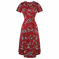 Hell Bunny Red Bird Print 1940s WW2 Wartime Victory Tea Dress