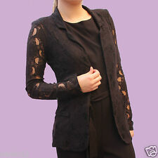 NEXT Womens Ladies Black Lace Blazer Jacket Summer Casual Party Top Long Sleeve