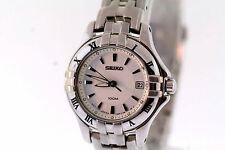 Ladies Seiko SXDA29 Stainless Steel Roman Numeral Bezel White Dial Date Watch