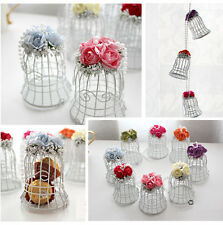 Luxe White Bird Cage Wedding Gift Box Favors Metal Birdcage Candy Decor