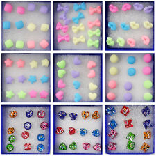 New Fashion Wholesale 6 Pairs Charm Earrings Stud Ear Candy Colors Cute Studs