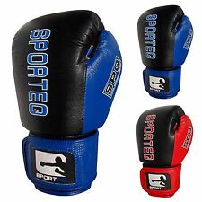 Sporteq Combination Leather Boxing Sparring Gloves, Martial Arts, MMA