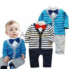 Baby Boy Kids Striped Gentleman Romper Jumpsuit Bodysuit Clothes Outfit Bow Tie