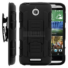 For HTC Desire 510 Rugged Armor Hybrid Stand Cover Hard Case Belt Clip Holster