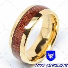 8MM Mens Tungsten Ring Wood Inlay 14k Gold Plated Wedding Band Bridal Size 8-15