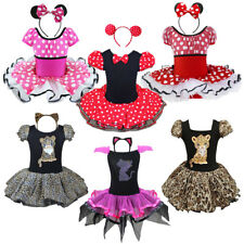 Girl Kid Minnie Mouse Costume Ballet Dance Party Tutu Outfits Dress+Ear Headband