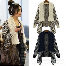 New Women's Long Sleeve Knitted Cardigan Loose Casual Sweater Lady Jacket Coat C