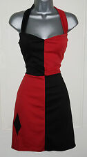 Sexy Harley Quinn Halterneck Dress Jester Red Black Fancy Pin up Costume 6-18