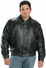 USA Leather Classic Mens Black Genuine Leather Winter Bomber Jacket