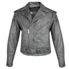 Xelement Mens B7149 Classic Distressed Gray Leather Motorcycle Jacket Gun Pocket