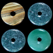 50mm Natural Gemstone Round Donut Ring Pendant Beads For Necklace Jewelry