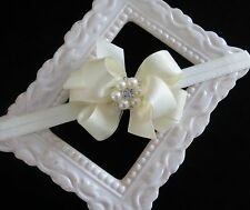 IVORY baptism satin hair bow headband small flower girl pearl rhinestone infant