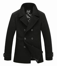 New Mens Classic Pea Wool Coat Jacket Black Dark Grey