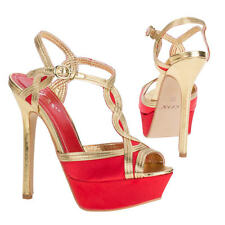 NEW RED LADIES SUMMER T BARS ANKLE STRAP SANDALS HIGH HEEL SHOE SIZE 3-8 6200