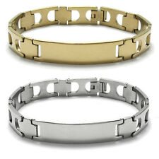 "Stainless Steel Men's 8"" Personalized Cross Links Bracelet (Choose Color)"