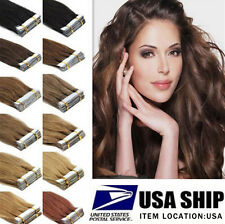 """16""""-22"""" Skin Weft Remy Straight Wavy Tape In 100% Human Hair Extension USA Ship"""