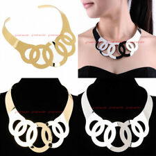 New Fashion Women Curved Mirrored Charm Metal Chunky Choker Bib Necklace Necklet