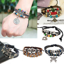 Retro Cuff Style Multilayer PU Leather Beaded Wrap Charms Bracelet Chain Fashion