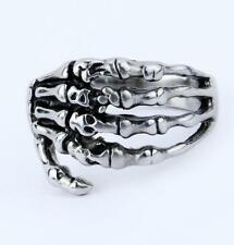 Men's Punk Gothic Ghost Skeleton Skull Hand Biker Ring 316L Stainless Steel NG10