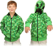 Minecraft Creeper Boys Kids Cool Game Green Jacket Hoodies Zip-Up Coat