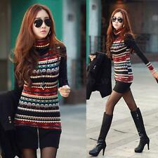 Fashion Women Retro Print Turtle Neck Long Sleeve T-shirt Thick Shirt Top Blouse