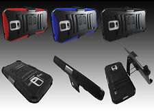 Heavy Duty Rugged Armor Case Cover w/ Belt Clip Holster for Various Phones