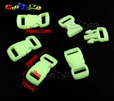 "Glow in the Dark 3/8"" Curved Release Buckle Paracord Bracelet Dog Collar Parts"