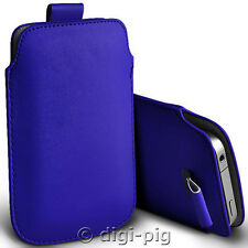 BLUE (PU) LEATHER PULL TAB POUCH CASE FOR MAIN RANGE OF MOBILE PHONES