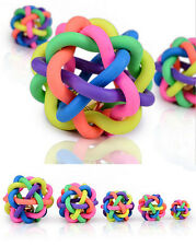 Dog Puppy Cat Pet Rainbow Colorful Rubber Sound Ball Bell Chewing Toys New Hot