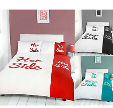 His And Her Side Double Duvet Quilt Cover Pillowcases Bedding Set NEW