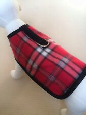 Fleece Red And Black Plaid Dog Harness Clothes Coat