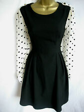 Darling Black Fifi Flirty Dress S-XL 10-16 Spotty Polka Dot Sheer Chiffon Sleeve