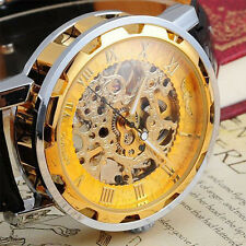 New Mens Classic Black Leather Dial Mechanical Sport Army Skeleton Wrist Watch
