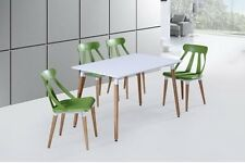 Glass Square Dining Room Table Set and 4 / 6  Chairs Faux Leather Furniture