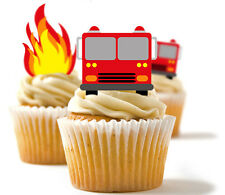 ✿ 24 Edible Rice Paper Cup Cake Toppings - Fire engine and flames ✿