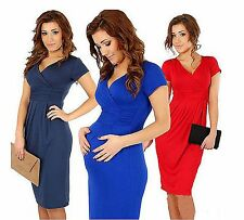 Women Maternity Short sleeves Pregnant Formal Tunic Cocktail Maxi Cotton Dress