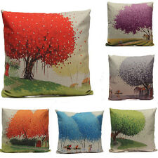 Hand Painted Pastoral Tree Cotton Linen Home Cushion Pillow Cushion Cover Decor