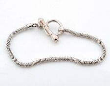 Lots Silver Tone Toggle ring OT clasp Net Chain Bracelet Fit Charm Bead 16-23cm