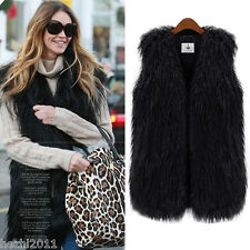 Chic New Faux Fur Vest Sleeveless Long Hair Waistcoat Gilet Coat Jacket Outwear