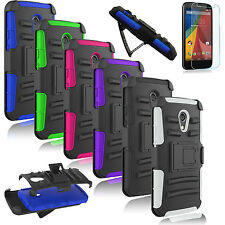 Film + Belt Clip Defender Stand Case Cover For Motorola Moto G 1st / G 2nd Gen