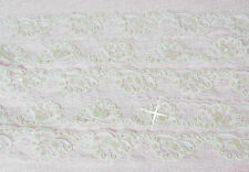 """White  1 1/8"""" Wide Bridal Alencon Lace Corded Trim with Pearls & Sequins  New"""