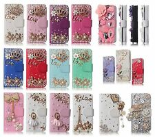 3D Luxury Wallet Case Bling Leather Pink Purple Gold magnetic Design Cover Cases