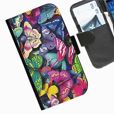 Butterfly Leather wallet mobile phone Skin case Personalised iPhone