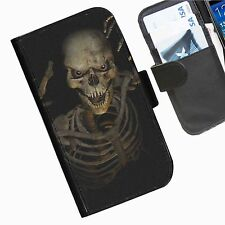 Skulls Leather wallet phone case for Samsung Galaxy Active Alpha Note Edge