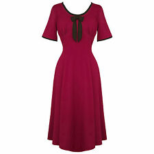 Hell Bunny Alveira Raspberry Red 40s Victory WW2 Tea Party Dress