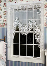 Heritage Lace Victorian Rose One Piece Swag, White or Ecru, One or Set, Vintage