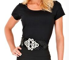 ~ BRAND NEW~ WOMEN'S BLACK  ROUND NECK TEE SHIRT - COMFORTABLE AND MOULDED FIT