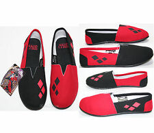 NEW DC COMICS BATMAN HARLEY QUINN CANVAS SLIP ON FLAT SHOES SLIPPERS LADIES S-L